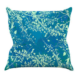 "Kess InHouse - Iris Lehnhardt ""Twigs Silhouette Teal"" Aqua Green Throw Pillow (26"" x 26"") - Rest among the art you love. Transform your hang out room into a hip gallery, that's also comfortable. With this pillow you can create an environment that reflects your unique style. It's amazing what a throw pillow can do to complete a room. (Kess InHouse is not responsible for pillow fighting that may occur as the result of creative stimulation)."
