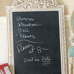 Allier Framed Chalk Board - A stylish place for jotting down ideas, shopping lists or phone messages, we've given our generously sized chalkboard a soupçon of French elegance. Based on an antique mirror our designers found in the south of France, the handsome, hand-carved mango wood frame is topped with an elaborate urn and scrolling foliage. Antique ivory finish.