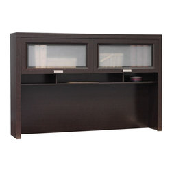 "Bush - Tuxedo Hutch for L-Desk in Mocha Cherry - Tuxedo's rich Mocha Cherry finish, Graphite Gray accents and Satin Nickel hardware convey the formal and elegant look of a finely tailored tuxedo.; Hutch (WC21830-03) attaches on left or right side of desk; Large concealed storage areas behind wood frame doors with frosted glass inserts; Doors open vertically on durable hinges that can hold the door in the open position; Work-in-progress and supply shelves help keep desk uncluttered; Dimensions: 59.49""W x 12.27""D x 39.61""H"
