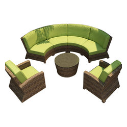 Cypress 5 Piece Outdoor Curved Sectional Set, Kiwi Cushions