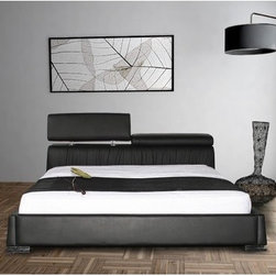 """Casabianca Furniture - Angel Platform Bed - Features: -Material: Leather/PVC. -Headboard can go up or down to find the perfect comfort for your back. -Stainless steel trim on sides of the headboard. -Overall Dimensions: 42"""" H x 79"""" W x 97"""" D."""