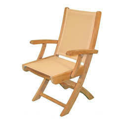 Jewels of Java - Hampton Folding Arm Chair in Teak (Black) - Color: Black. Solid teak frame. Mortise and tenon construction. Plantation grown teak. Warranty: 3 years for teak frame and 2 years for sling fabric components. Made from teak frame and sling. 23 in. W x 18 in. D x 26 in. HJewels of Java's Hampton Sling Folding Arm Chair is perfect for casual dining or in any casual setting. Made out of high grade solid teak wood and fine quality textaline sling, this dining chair will bring you endless hours of hassle free relaxation and casual dining enjoyment. The sling breaths giving you a comfortable seating platform without the use of a cushion, and teak is the natural and environmentally friendly choice for outdoor furniture. All of our teak is plantation grown and replanted when harvested. No maintenance is needed for teak wood; it will withstand whatever mother nature throws at it while maintaining an elegant and stylish appearance.