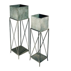 "EttansPalace - 48"" H Tall Decorative Garden Square Planters - Set of 2 - Showcase your greenery in these decorative symphonies of metal! These metal Georgian accent pieces show off your garden greenery with sophisticated style. Available as a set of two for home or garden."