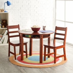 Lipper Childrens Round Table and Chair Set - Beautifully finished and incredibly sturdy the Children's Round Table and Chair Set is ideal for any child. The table and chairs are made of sturdy beechwood with your choice of beautiful finish - Cherry Espresso Natural Pecan or White. A recessed lower shelf provides the perfect storage spot for small toys books or drawing supplies. This beautiful set will bring a new dimension of functionality to any room. The Children's Round Table and Chair Set is perfect for puzzles tea parties and hours of fun. Order yours today! Dimensions:Table: 29 diam. x 23.5H inchesChairs: 13.75W x 14.5D x 25.5H inches Need another set of chairs? Scroll below to the Lipper Childrens Collection area to add a second set of chairs. About Lipper InternationalLipper International provides exceptionally valued kitchen home & office organizers including the Soho Spice Collection; single serve coffee pod organizers; kitchen pantryware cutting boards and tools; serving & entertaining accessories; and children's furniture and toy chests. Lipper uses the finest quality materials including stainless steel bamboo acacia wood chrome- and powder-coated metals and other fine quality hard woods. Known for product functionality as well as beauty and quality craftsmanship Lipper International combines quality style service and price into every product and collection it offers.