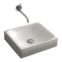 "WS Bath Collections - Cento 3554 Vessel Bathroom Sink 15.7"" x 13.8"" - Cento by WS Bath Collections Bathroom Sink, Designed by Marc Sadler of Italy, counter top vessel installation, in ceramic white"