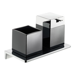 """WS Bath Collections - Asio 1331.204.04 Soap Dispenser and Toothbrush Holder - Asio 1331.204.04, 8.7"""" x 4.5"""" x 5.3"""", Holder with Toothbrush Holder and Soap Dispenser in Black Crystal Glass/ Polished Chrome"""