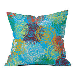 DENY Designs - DENY Designs Khristian A Howell Carnival Throw Pillow - Bring home the colorful fun of the fair. Liven up your home with the funky DENY Designs Khristian A Howell Carnival Throw Pillow, with all the fantastic colors but without any of the sticky caramel apple mess. Featuring vivid blooms (or fireworks, depending on how you look at it) against a bright turquoise background, each fade-resistant pillow is specially printed to order for long-lasting color and comfort. Work with DENY to help support artists and art communities around the world that create custom home decor accessories you'll love. Make like extraordinary everyday!Custom printed to orderFade resistantWoven polyester coverConcealed zipper6-color dye processKhristian A Howell collection