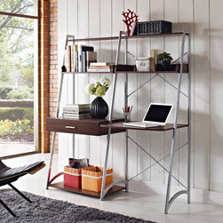 Altra - Altra Ladder Desk with Tower Bookcase - You'll enjoy working at your desk when you sit behind this modern ladder desk from Altra. It offers several durable shelves to keep you organized,and it has a small drawer to keep all of your pens and pencils close by but hidden from view.