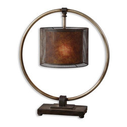 Uttermost - Uttermost Dalou Lamp - Uttermost Dalou Lamp is a part of Matthew Williams Collection by Uttermost Rustic, dark bronze finish with a rottenstone glaze and an antiqued silver ring. The shade is pierced metal with a rustic, dark bronze finish over a stained Mica inner shade. Lamp (1)