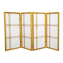Oriental Furniture - 3 ft. Tall Double Cross Shoji Screen - Honey - 4 Panels - This three foot tall folding screen adapts a traditional Japanese design for the modern home. Shoji rice paper, valued for its beauty and lightweight design, has been used in Japan for over a thousand years to divide space and provide privacy without blocking off light. This room divider elegantly complements any style of interior decor and is a great way to partition a room, hide the space beneath a table or desk, or add cosmopolitan flair to the home or office.