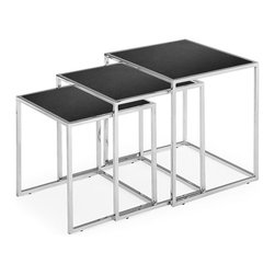 Zuo Modern - Zuo Pasos Nesting Table in Black - Nesting Table in Black belongs to Pasos Collection by Zuo Modern Like any nest table, the possiblities are endless with the Pasos. It can be used in any space and in a multitude of ways. It is made of a chrome steel tube frame and with black tempered glass. Nesting Table (1)