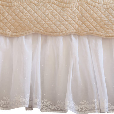 "Taylor Linens - Daisy Dot White Twin Bed Skirt - Our classic Daisy Dot linen is reminiscent of antique European linens with intricate embroidery done on delicate linen and organdy.  Any of the pieces in this collection are sure to become a treasured family heirloom.  Cotton and Linen. White. 39""x75""x18"""