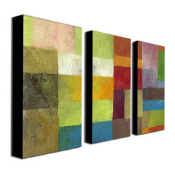 Trademark Art - Michelle Calkins Abstract Color Panels IV - 3 - Gallery Wrapped Canvas Art. Canvas wraps around the sides and is secured to the back of the wooden frame. Frameless presentation of the finished painting. 16 in. L x 32 in. W x 2 in. D (13 lbs.)