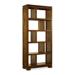 """Hooker Furniture - Hooker Furniture Viewpoint Room Divider - A young, hip transitional design that is scaled to fit smaller homes and condos, Viewpoint is crafted in highly figured walnut veneers with rubberwood solids in a clear medium brown finish. Hardware is in a brushed bronze finish. Ten storage compartments. Finished top. Rubberwood Solids and Cathedral Walnut Veneers. Dimensions: 32""""W x 14""""D x 72.75""""H."""