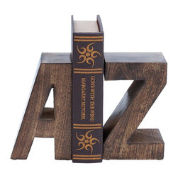"Wood Book End Pair with Wood Grain Design - Designed with great finesse, this Wood Book End Pair 8""H, 5""W offers a vivacious look to settings.  Expertly crafted using premium grade materials, this book end pair offers durability and long lasting performance. Delightfully designed as letters A and Z from the English alphabet, this book end also makes for a charming decor accent. The sturdily constructed book end pair can be incorporated on shelves, mantelpieces as well as table tops to organize your collection of books. Provided with grommets on the base, this book end pair does not slip or slide during use. Decorated with a wood-grain design, this book end pair flaunts a dark finish and an elegant matte texture. It is a nice gift item for your office colleague.. It comes with the following dimensions"