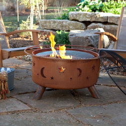 Patina - Evening Sky Fire Pit with Grill and FREE Cover - F100 - Shop for Fire Pits and Fireplaces from Hayneedle.com! It won't matter if your evening is cloudy because once you light a roaring fire in your Patina Evening Sky 31-Inch Fire Pit the moon will shine and the stars will twinkle as your cheerful fire flickers through moon and star cutouts.Take the chill off cook an outdoor dinner or both with this sturdy metal-bottom three-legged fire pit. Hand-crafted of cold-rolled steel this fire pit is heavy-duty. Comes complete with a BBQ grill insert for cooking a spark arresting safety screen and poker for stirring the coals. Attractive rust patina finish. No assembly required. Free fire pit cover is included! If you plan to use your fire pit on a wood deck we recommend placing it over a protective pad or paving stones which can be purchased at your local hardware store.About Patina ProductsInspired by the warm days and cool nights of the central coast of California Patina Products offers fine outdoor accessories to turn your patio into a real living space. For over 10 years the company has been warming up gardens and patios with unique hand-crafted fire pits. They use specially designed CNC (computer numeric control) plasma cutters to cut virtually any logo or brand into the side of a custom fire pit. The gorgeous natural patina finish on each pit will age beautifully over time for an authentic rustic look. Let Patina Products create a fire pit that suits your unique style and make the patio your favorite room of the house.