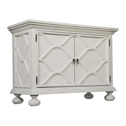 Kathy Kuo Home - Vichy French Country White Weathered Wood Sideboard Buffet - Grace your favorite French country quarters with this white weathered sideboard. Crown molding, wavy ogival latticework and bun feet provide plenty of textural detail with elegant brass teardrop drawer pulls completing the overall look. Cabinet doors open to a fixed and bottom shelf for storing everything from candlesticks to glassware. Top it with an elaborate mirror in the bedroom or use it as a bar cabinet in the living room- this delightful piece has no limits.