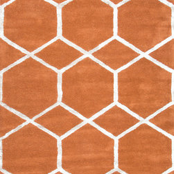 Jaipur Rugs - Modern Geometric Pattern Red /Orange Wool/Silk Tufted Rug - CT12, 8x11 - Over scaled sharp geometrics characterize this striking contemporary range of hand tufted rugs. The high/low construction in wool and art silk creates texture and surface interest and gives a look of matt and shine.