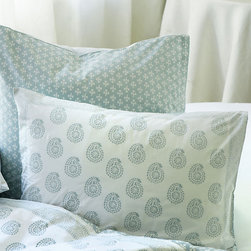 Ballard Designs - Ava Block Print Sham - Spa - Coordinates with our Ava Block Print Duvet, Quilt & Shower Curtain. Machine washable. Our Ava Block Print Bedding adds a romantic global feel to your bedroom. The Sham is hand finished of soft 100% cotton percale in your choice of four colors. Each color has its own pattern designed to mix and match with all the others. Ava Block Print Sham features:. .