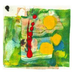"Amantha Tsaros - Green on Fire Original Artwork - A wild burst of springtime on a 6""x6"" field."