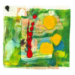 "Amantha Tsaros - Green on Fire Original Artwork - A wild burst of springtime on a 6""x6"" field."