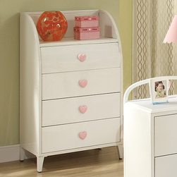 Coaster - Juliette 4 Drawer Chest with Shelf, Sandy Yellow/Pink - This elegant youth metal bedroom collection will add a touch of sophisticated style and feminine appeal to the youth bedroom in your home. Slick pink metal construction, sinuous shapes, and whimsical heart designs create the ideal look for your child. Other casegood pieces feature a simple, angelic, white finish with clean and crisp box lines. Pink heart shaped knobs add the perfect touch of cuteness ideal for any girl's dream bedroom. Choose from 2 different bedroom styles: an arched metal headboard/footboard that include a lovely pink finish and motifs of hearts or a rectangular headboard/footboard with pink/white ornament detail.