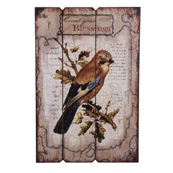 """Home Essentials - Square Wooden Bird Wall Plaque - Accentuate your home with this  Wall Art. Great to hang up on any empty wall space in your home. This wall plaque makes a perfect and thoughtful gift for a love one any time of the year.                           *Dimensions: 23.75""""H"""