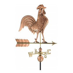 "G.D. - Good Directions 27"" Rooster Weather Vane, Polished Copper - Proudly puffing out his broad chest, this rooster is ready to crow - day and night - over the rooftop of your house, barn, garage, or cupola. Our Good Directions' artisans use Old World techniques to handcraft this fully functional, standard-size weathervane that's unsurpassed in style, quality and durability. A great gift for folk art enthusiasts!"