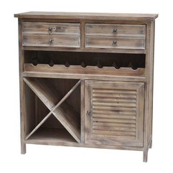Jackson 2 Drawer Weathered Oak Wine Cabinet - Jackson 2 Drawer Weathered Oak Wine Cabinet 34 x 13.75 x 35.8
