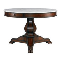 Lillian August - Lillian August Harrington Hall Table LA97327-01 - The harrington hall table's rich mahogany finish is hand polished for a time hued luster. The honed white marble top adds light to any setting. Working drawer with aged brass pull.