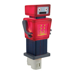 Children`s Red and Blue Robot Night Light Nite Lite - This adorable robot night light will ease your child`s fear of the dark while adding a delightful decorative accent to the room. Made of cold cast resin, it measures 6 1/2 inches tall, 3 inches wide, and 2 inches deep. It has a 360 degree swivel plug to accommodate any outlet, and it uses a 7 watt (max) type C night light style bulb (included). The light has an on/off switch on the front, and is recommended for children ages 6 and up.