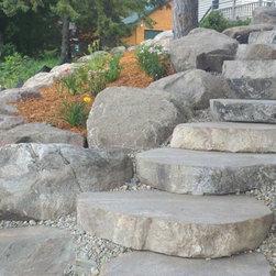 """Glacial Ridge Boulder Steps - 7"""" thick boulder steps installed"""