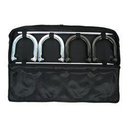 Trademark Global - Executive Deluxe Horseshoe Set With Bag - Includes 4 horseshoes, 2 poles and a carrying bag. Easy to carry. 2.60 lbs. Horseshoe. 7 in. x 6.50 in. Horseshoe. 2 ft. Pole. Carrying bag with velcro straps to hold everything together. Lots of fun for friends an family. 27 in. L x 1.25 in. W x 9.25 in. H (18 lbs.)Get out and enjoy the beautiful weather with this handy horseshoes set! Perfect for your next BBQ, picnic, party or reunion! Everyone will enjoy an exciting game of horseshoes in the park or in your backyard!