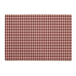 Red Handwoven Houndstooth Custom Placemat Set - Is your table looking sad and lonely? Give it a boost with at set of Simple Placemats. Customizable in hundreds of fabrics, you're sure to find the perfect set for daily dining or that fancy shindig. We love it in this red & cream woven cotton houndstooth that will cozy up the classic home.
