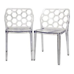 Wholesale Interiors - Baxton Studio Honeycomb Clear Acrylic Modern Dining Chair - Contemporary dining chair