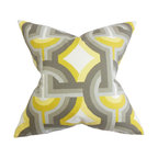"""The Pillow Collection - Rineke Geometric Pillow Gray Yellow 18"""" x 18"""" - Bright and modern, this striking decor pillow makes a great statement piece in your home. Reinvent your plain and boring living room or bedroom by tossing this throw pillow on your sofa or bed. A bold geometric pattern in a combination of yellow, gray and white hues adorns this scene-stealing accent pillow. US-made and crafted with 100% high-quality cotton material. Hidden zipper closure for easy cover removal.  Knife edge finish on all four sides.  Reversible pillow with the same fabric on the back side.  Spot cleaning suggested."""