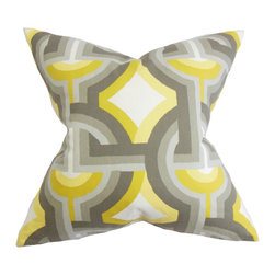 The Pillow Collection - Rineke Geometric Pillow Gray Yellow - Bright and modern, this striking decor pillow makes a great statement piece in your home. Reinvent your plain and boring living room or bedroom by tossing this throw pillow on your sofa or bed. A bold geometric pattern in a combination of yellow, gray and white hues adorns this scene-stealing accent pillow. US-made and crafted with 100% high-quality cotton material. Hidden zipper closure for easy cover removal.  Knife edge finish on all four sides.  Reversible pillow with the same fabric on the back side.  Spot cleaning suggested.