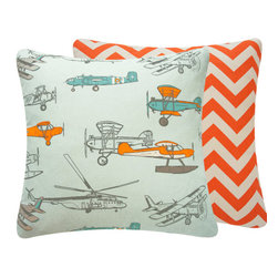 Chloe & Olive - Vintage Airplane Print Throw Pillow, Orange, 18x18 - Elevate your child's air travel fascination with this stylish collection from Chloe & Olive.