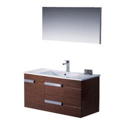 Adornus - Adornus YASMINE-40-WEN-C Wenge Vanity - * All Wood Vanity in High Gloss White and Wenge