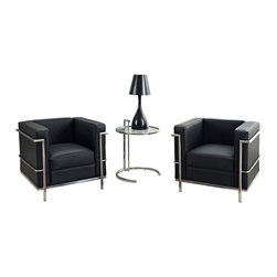 Modway - Black Leather Armchairs and Side Table - Add a contemporary touch to your living space with this set of two leather chairs. A stainless steel side table finishes this modern set.
