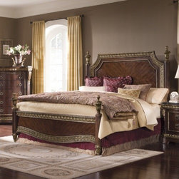 """Pulaski - Del Corto Panel Bed - Del Corto is a fresh redesign of a traditional style to incorporate modern conveniences. Crafted using book matched cherry veneers, it's richly appointed acanthus leaf overlays, detailed urn finials, intricate moldings, and impressive shell motif crowns on the headboard and mirror are all elements of old world European elegance. Mouldings are detailed through a multi-step finish process and tipped with gold dry-brushing to create a regal antiqued appearance. Features: -Del Corto collection. -Crafted using book matched cherry veneers. -Traditional style. -Tipped with gold dry-brushing. Specifications: -Queen Dimensions: 68.5"""" H x 7.25"""" W x 72.5"""" D. -King Dimensions: 72.5"""" H x 6.75"""" W x 87"""" D. -California Dimensions: 72.5"""" H x 6.75"""" W x 87"""" D."""