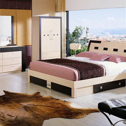 Made in Italy Wood Design Bedroom Furniture with Extra Storage - Two tone design bedroom storage w drawers located underneath bed. One look at the Modern Bed with Storage will tell you that this is no ordinary bed.