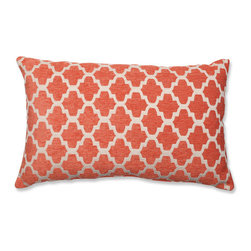 Pillow Perfect - Keaton Santa Fe Orange and Off-White Rectangular Throw Pillow - - Knife Edge  - Sewn Seam Closure  - Care and Cleaning: Spot Clean Only  - Purpose: Indoor Pillow Perfect - 540061