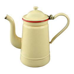 EuroLux Home - Consigned Vintage French Cream Red Enamel Tea - Product Details