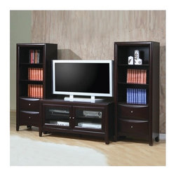 """Wildon Home � - Portola 47"""" TV Stand - Add a traditional design to your entertainment area with this two door media stand. Featuring four shelves behind two glass, wood-framed doors, it provides the perfect space for placing your modern media components, such as your DVD/Blu Ray player, stereo system, or gaming devices. Rectangular in shape, it is lifted on four short legs and features small, round hardware door knobs. Small in scale, add even more storage space by pairing with the coordinating media tower. Features: -Casual style.-Darker of the two, offers a more contemporary look.-Crafted from hardwood solids and maple veneers.-Simple tapered post feet anchor each piece.-Smooth TV stand surface is ideal for displaying your flat screen TV.-Cappuccino finish.-Walnut finish offers a warm wood tone with a hint of red.-Brass look knobs on the walnut finish.-Silver metal knobs on the cappuccino finish.-Portola collection.-Towers are not included.-Distressed: No.-Collection: Portola.Dimensions: -Overall Product Weight: 89.24 lbs."""