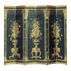 Wayborn - Wayborn Floral Display Room Divider in Black/Gold - Wayborn - Room Dividers - 1415 - Wayborn coromandel screen start with a cedar plywood frame covered in a cheesecloth material. Then layer after layer of plaster is applied; each layer must dry before another layer can be applied. After all the plaster has been applied several coats of lacquer is put over the entire surface. The design is drawn onto life-sized paper and carefully traced on to the panels. The craftsman then hand carves the design into the screen through the lacquer into the plaster. Once the screen is done it is painted with water based paint or silver/gold leaf is applied and sealed with a clear lacquer coat.