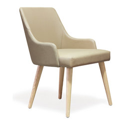 Marta Accent Chair - The soft, textural contrast of creamy leather upholstery and raw wood legs makes this chair a subtle and handsome choice to add comfort and lightness into your home. It would look great tucked at the head of the table or as part of a conversation nook.