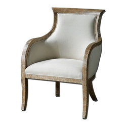 """Carolyn Kinder - Carolyn Kinder Quintus Armchair X-08032 - Almond stained, distressed solid white mahogany with antiqued, toffee crackle paint finish and soft linen covering blended with cotton trimmed in welt and Teflon(r) treated for soil resistance. Seat height is 18.5""""."""