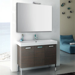 ACF - 40 Inch Bathroom Vanity Set - Set Includes:. Vanity Cabinet (3 Doors). High-end fitted ceramic sink. Wall mounted vanity mirror. Vanity Set Features . Vanity cabinet made of engineered wood. Cabinet features waterproof panels. Vanity cabinet in wenge, grey oak, larch canapa, glossy white finishes. Vanity cabinet features three easy-to-open doors. Chrome door handles elegantly complete vanity surface. Faucet not included. Perfect for modern bathrooms. Made and designed in Italy. Includes manufacturer 5 year warranty.