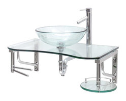 Renovators Supply - Glass Sinks Glass/Stainless Pratico Wall Mount Vessel Glass Sink - Glass Sinks: the Practico wall mount tempered glass vessel sink package comes complete with faucet, drain, and p-trap. See site for detailed product measurements and information.